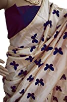 Latest New Designer Casual Party Ceremony Wear Fancy New Summer Ethnic Wear Collection 2018 Embroidered Butterfly Titli Pure Chanderi Cotton Silk Saree With Unstitched Blouse Piece (Color: Navy Blue)