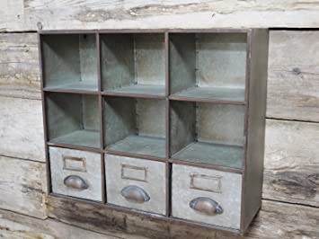 Lovely Industrial Furniture Pigeon Hole + 3 Drawers Storage Cabinet Shelving Wall  Unit