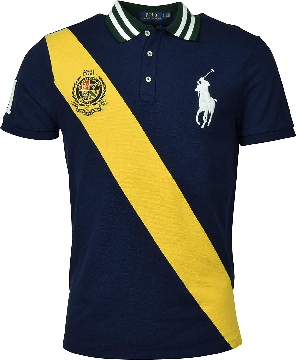 POLO RALPH LAUREN Mens Big Pony mesh Custom Slim Fit Three Button Crest Polo