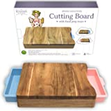 Cutting Board - Organic Acacia Wood Chopping Board with 2 Pink Blue Meal Prep Containers - Naturally Antimicrobial - For Meat Vegetables Bread or Cheese Board