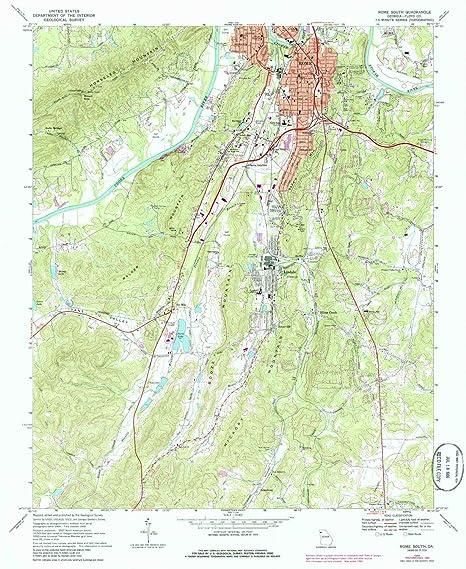 Topographic Map Of Rome.Amazon Com Yellowmaps Rome South Ga Topo Map 1 24000 Scale 7 5 X