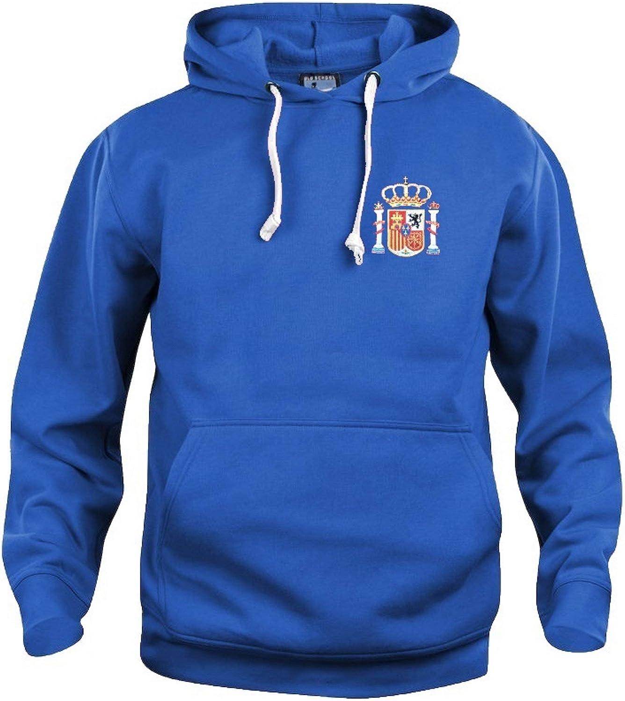 Old School Football Sudadera con Capucha de fútbol Nacional de España, Tallas S-XXXL, Logo Bordado, Color Azul Real, tamaño Large: Amazon.es: Deportes y aire libre