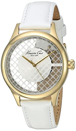 Kenneth Cole New York Womens Transparency Quartz Stainless Steel and White Leather Dress Watch