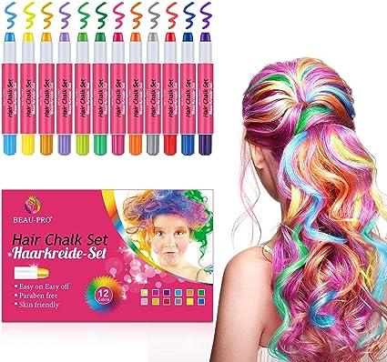 Tiza para el cabello, 12 colores no tóxicos lavables ...