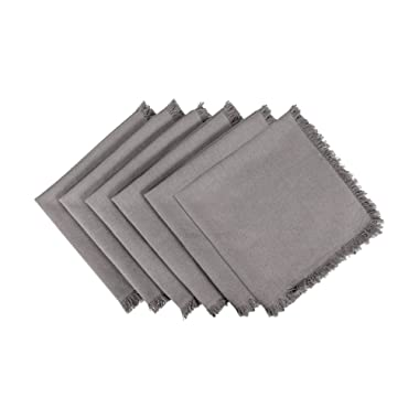 DII 100% Cotton, Oversized Basic Everyday Woven Heavyweight Napkin with Decorative Fringe for Place Settings, Family Dinners, BBQ, and Holidays (20x20 , Set of 6) Gray Solid