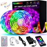 50FT/15M LED Strip Lights, Tenmiro Smart Led Lights Strip SMD5050 Music Sync Color Changing RGB Lights APP Bluetooth Control + Remote, LED Lights for Bedroom Party Home Decoration