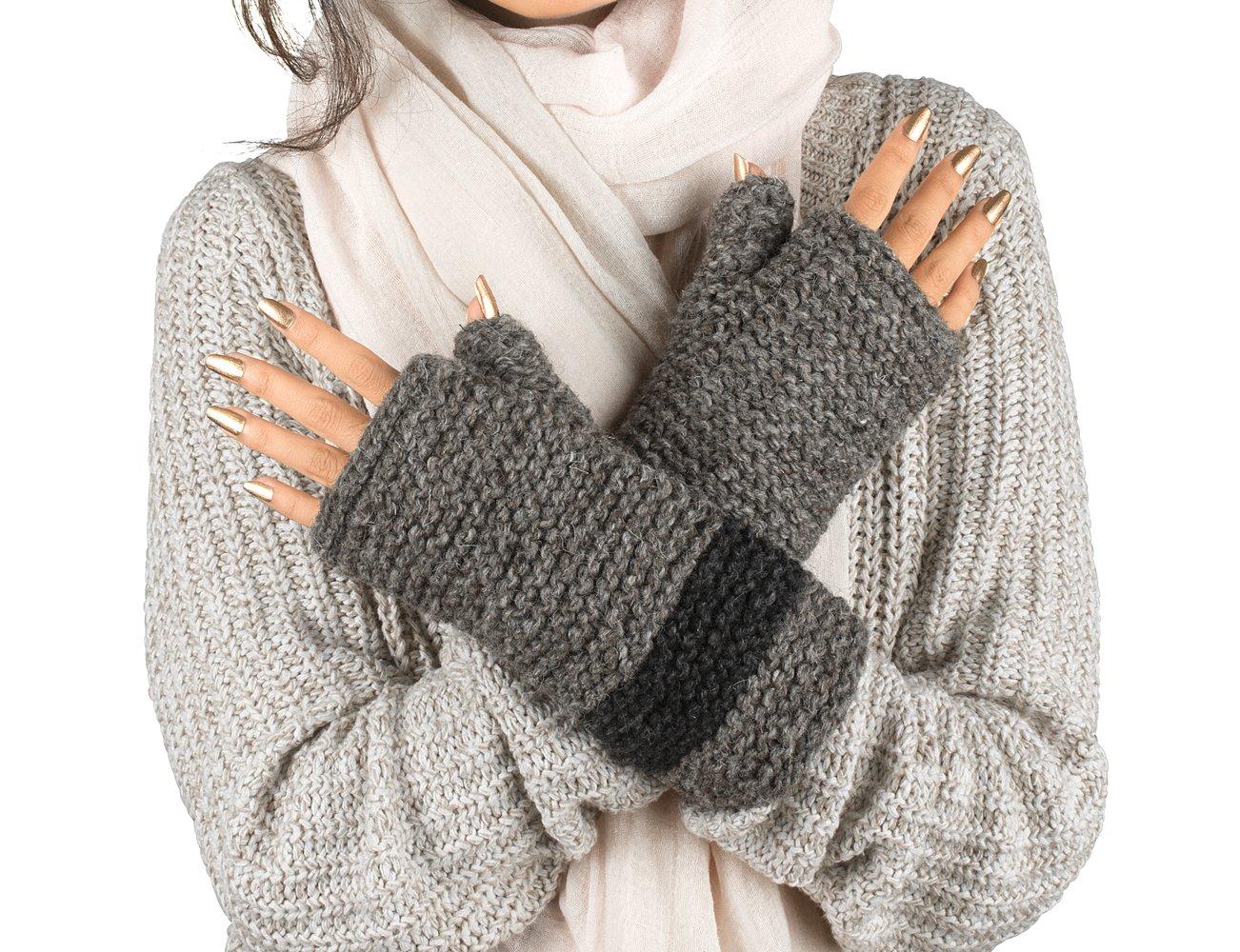 100% Wool Fingerless Gloves Arm Warmer Winter Warm Fleece inside Gloves Hand Knit Crochet Woman Cable Thumb Hole