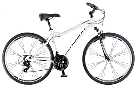 side facing schwinn network 3.0 700C hybrid bike