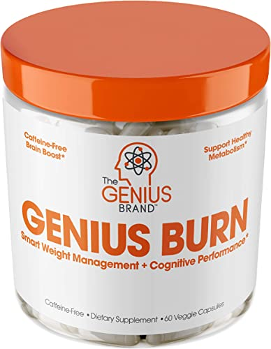 Genius Fat Burner – Thermogenic Weight Loss Nootropic Focus Supplement – Natural Metabolism Energy Booster for Men Women Thyroid Support and Appetite Suppressant w Gymnema Sylvestre, 60 Pills