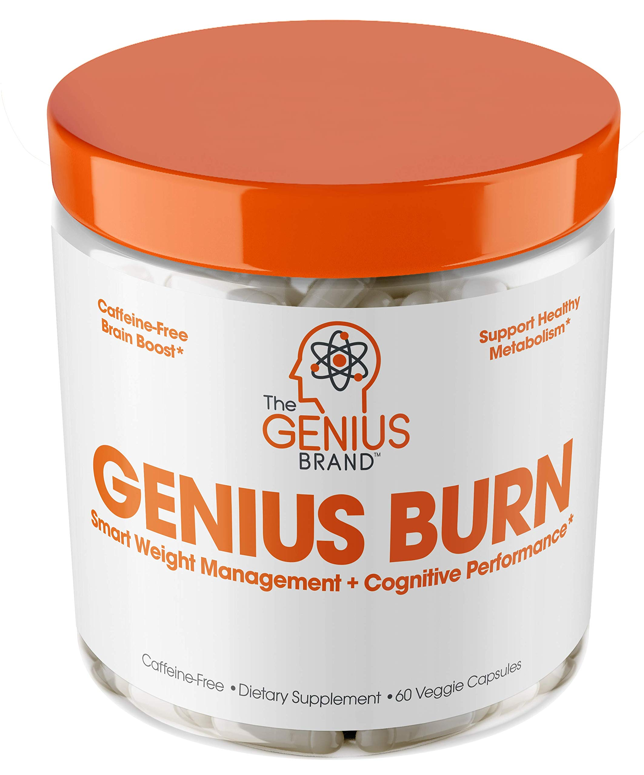 Genius Fat Burner - Thermogenic Weight Loss & Nootropic Focus Supplement - Natural Metabolism & Energy Booster for Men & Women | Thyroid Support and Appetite Suppressant w/ Gymnema Sylvestre, 60 Pills by The Genius Brand