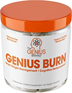 Genius Fat Burner - Thermogenic Weight Loss & Nootropic Focus Supplement - Natural Metabolism & Energy Booster for Men & Women | Thyroid Support and Appetite Suppressant w/ Gymnema Sylvestre, 60 Pills