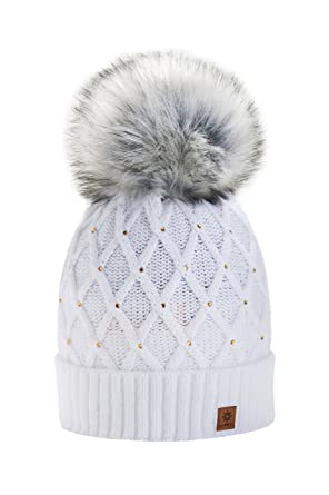 193a8be7c1ae78 Women Girls Winter Beanie Hat Wool Knitted Crystal with Large Pom Pom Cap  Ski Snowboard Hats (White) MFAZ Morefaz Ltd: Amazon.co.uk: Clothing