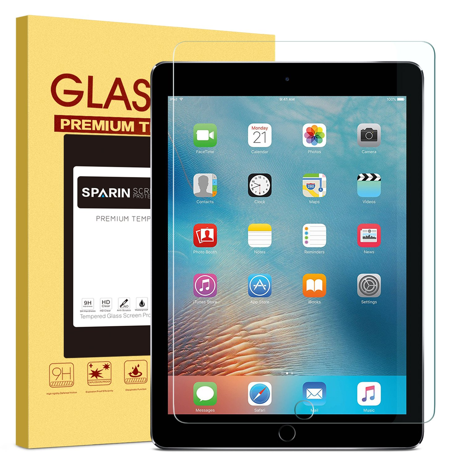 """New iPad 9.7"""" (2018 & 2017) / iPad Pro 9.7 / iPad Air 2 / iPad Air Screen Protector, SPARIN Tempered Glass Screen Protector - Apple Pencil Compatible / High Definition / Scratch Resistant"""