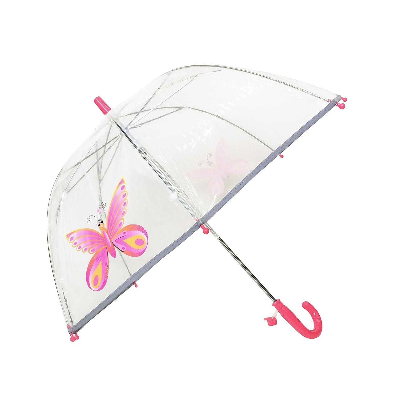 SMATI Kinderregenschirme - transparenter Stockschirm Glockenform - Der erste fluoreszierende Rengenschirm für die Sicherheit Ihres Kindes (Rosa Pinguin) BUL3469