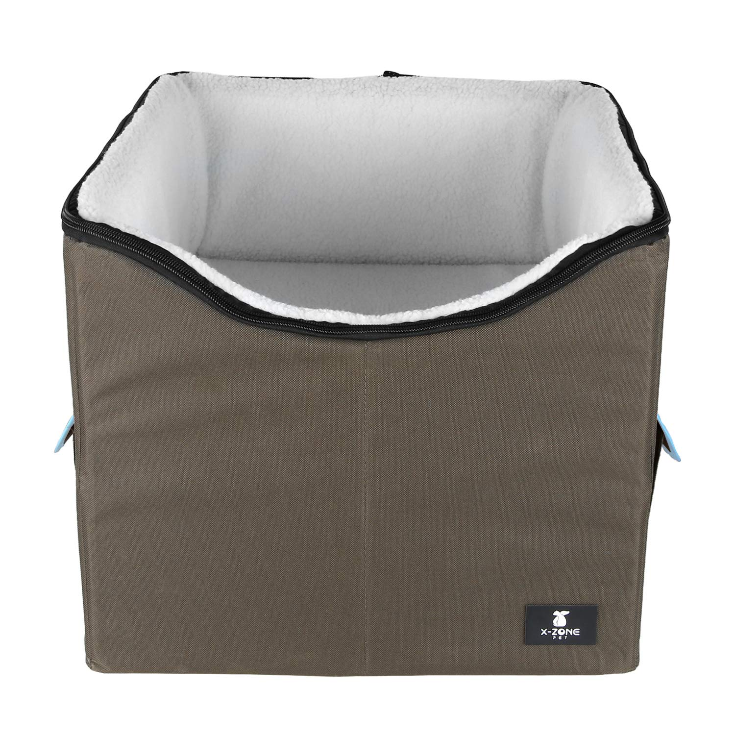 X-ZONE PET Dog Booster Car Seat/Pet Bed at Home, with Pockets and Carrying case,Easy Storage and Portable (Medium, Brown&Blue) by X-ZONE PET