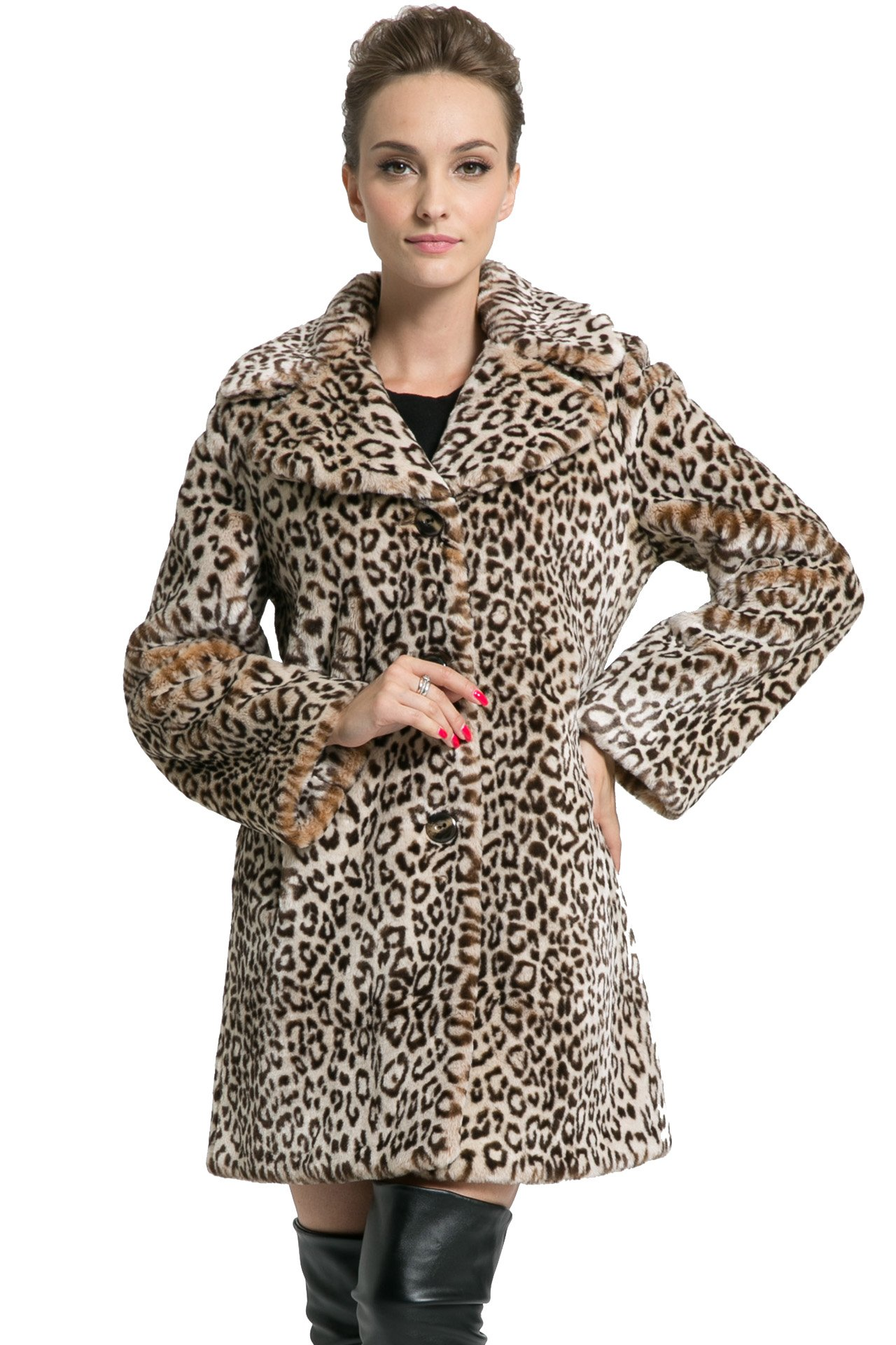 Ovonzo Women's New Style Middle Length Leopard Faux Fur Coat Brown Size XL
