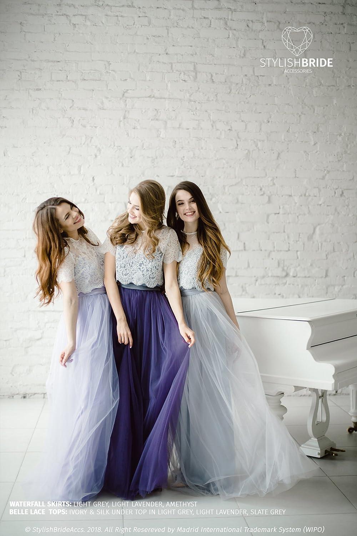1f71004976 Amazon.com: Light Lavender Classic Silk Bridesmaid Dress Tulle Skirt, Long  Floor Lavender Purple Length Waterfall Tulle Skirt, Prom Lavender Dress:  Handmade
