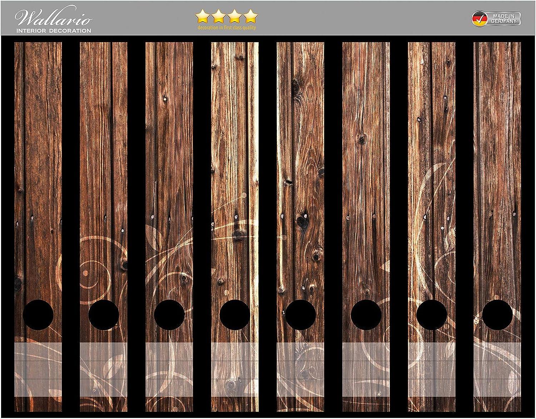 Wallario Ordnerr/ücken Sticker Holz in Dunkelbraun mit Blumenmuster Schn/örkel in Premiumqualit/ät Gr/ö/ße 8 x 3,5 x 30 cm passend f/ür 8 schmale Ordnerr/ücken