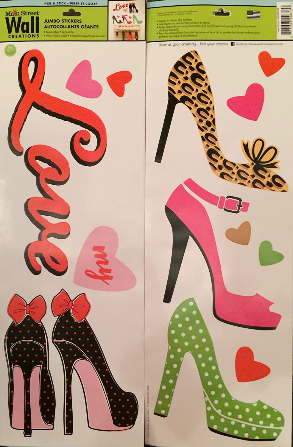 Amazon.com: 1 X High Heel Shoes U0026 Hearts Removable Wall Decals Stickers  Peel And Stick Wonu0027t Harm Walls: Home U0026 Kitchen Part 82