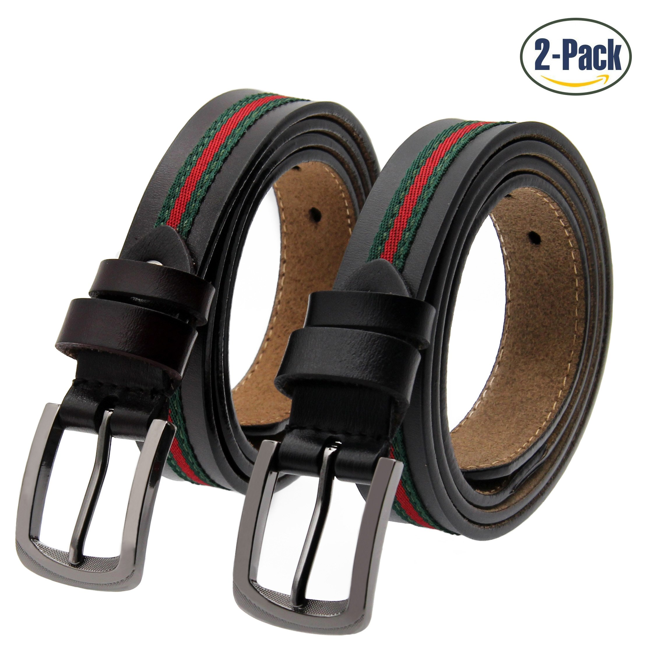 Set of 2 Women's Fashion Genuine Cowhide Leather Belt Vintage Casual Belts for Jeans Shorts Pants Summer Dress for Women With Alloy Pin Buckle By ANDY GRADE (Style B)