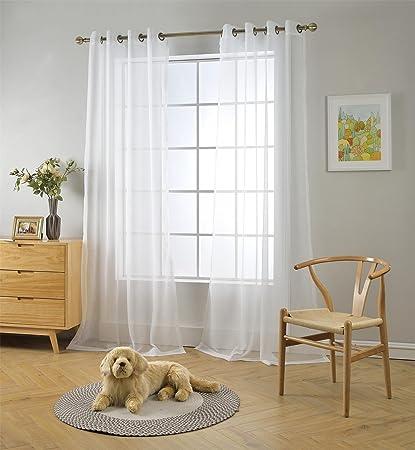 Amazon.com: MIUCO 2 Panels White Curtains Grommet Textured Solid