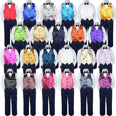 eeef56444 4pc Baby Toddler Boy Teen Formal Suit NAVY Pants Shirt Vest Bow tie Set SM-