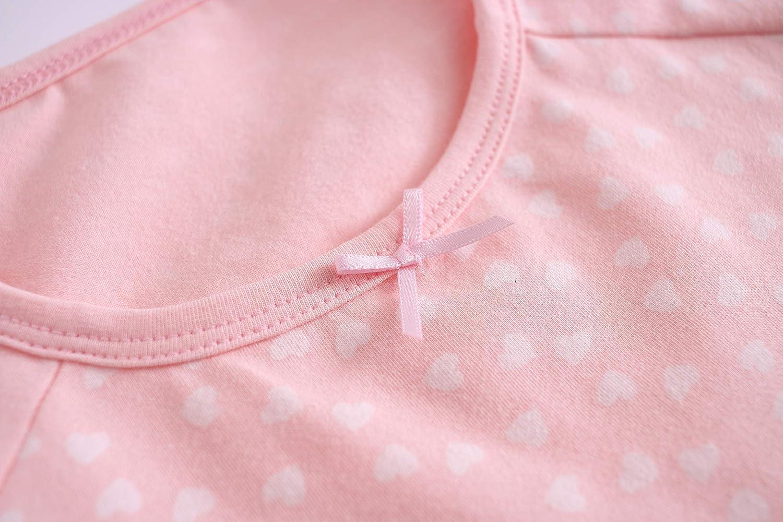 Allmeingeld Girls Princess Nighties Heart Print Nightgowns Cotton Sleepwear for 3-12 Years