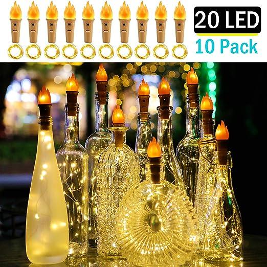 MEHRWEG DIY geburtstag Weihnachten Anpro 6 x 20 LED Lichterketten 2M Flaschenlichter led flaschenlicht Warmwei/ß Weinflasche Kupferdraht Cork Form flaschenlichterkette korken f/ür hochzeit deko
