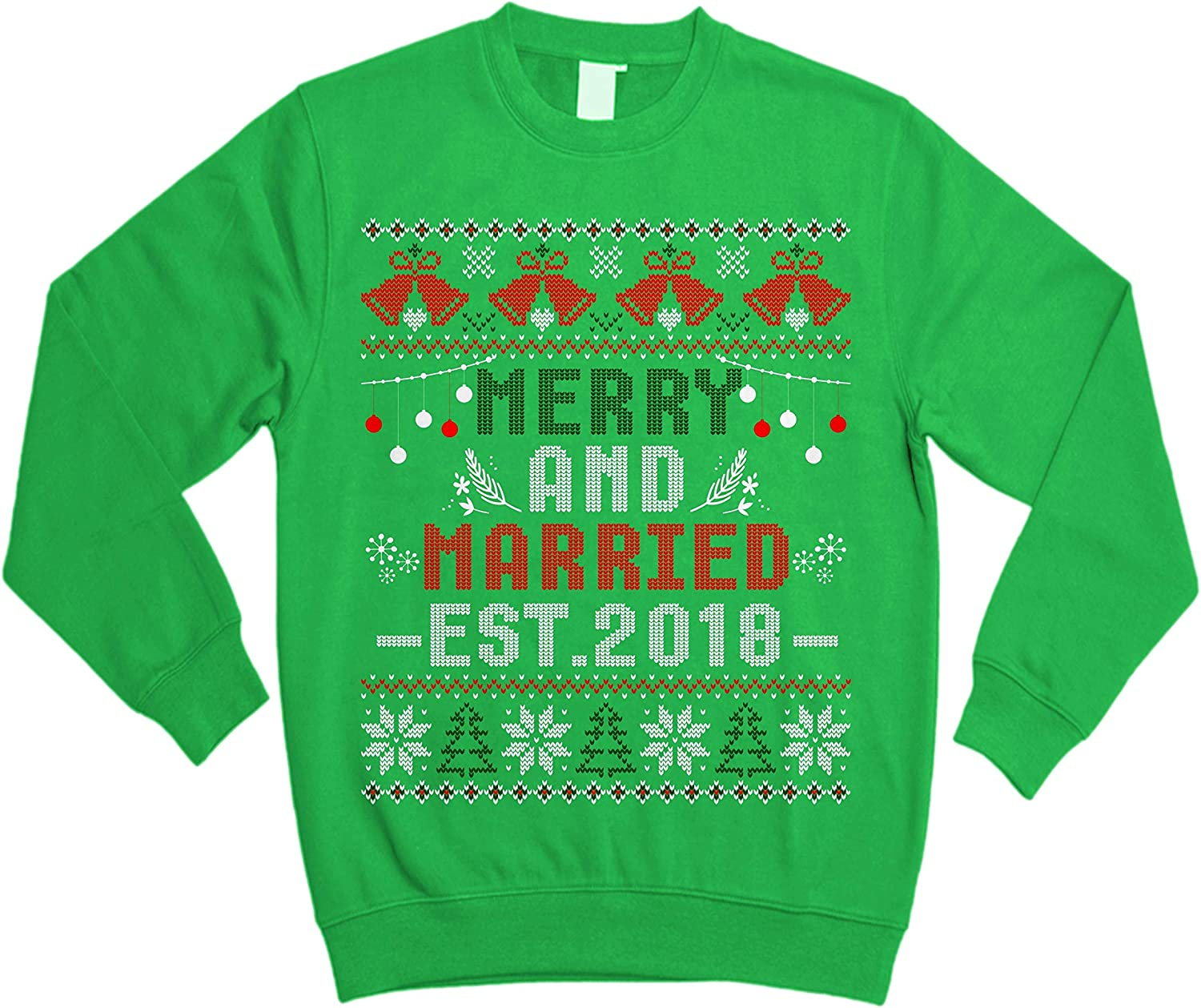 Merry and Married for Mr and Mrs Christmas Ugly Sweater Shirt Noel Merry Xmas Sweatshirt