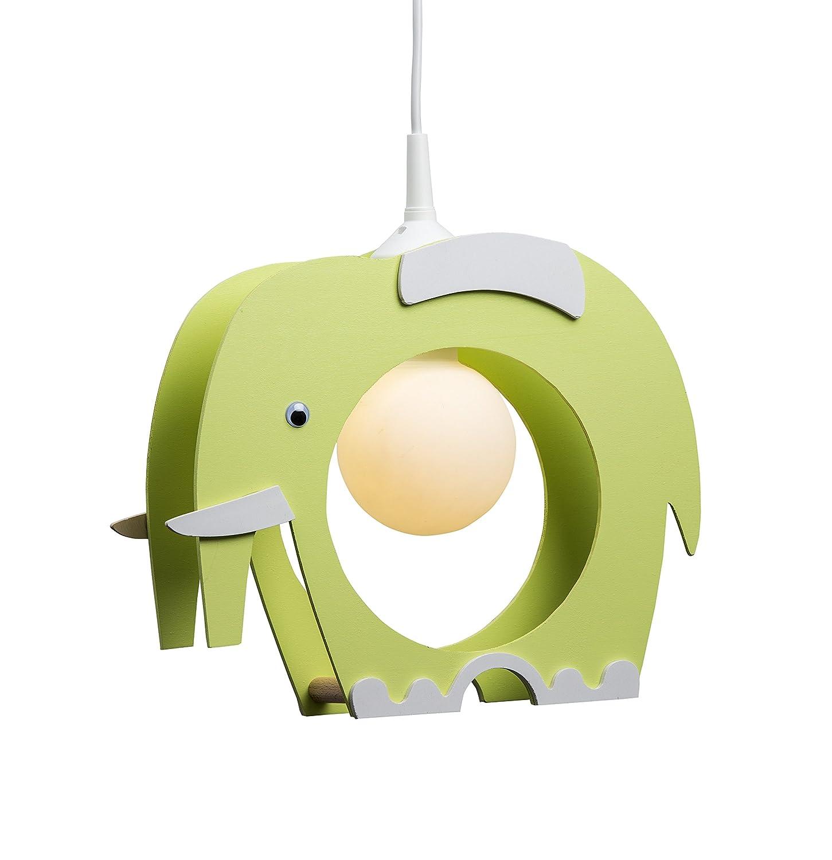 Elobra Lampada da soffitto, lampadario a sospensione per bambini, motivo: elefante, in legno, colore: verde chiaro 132234