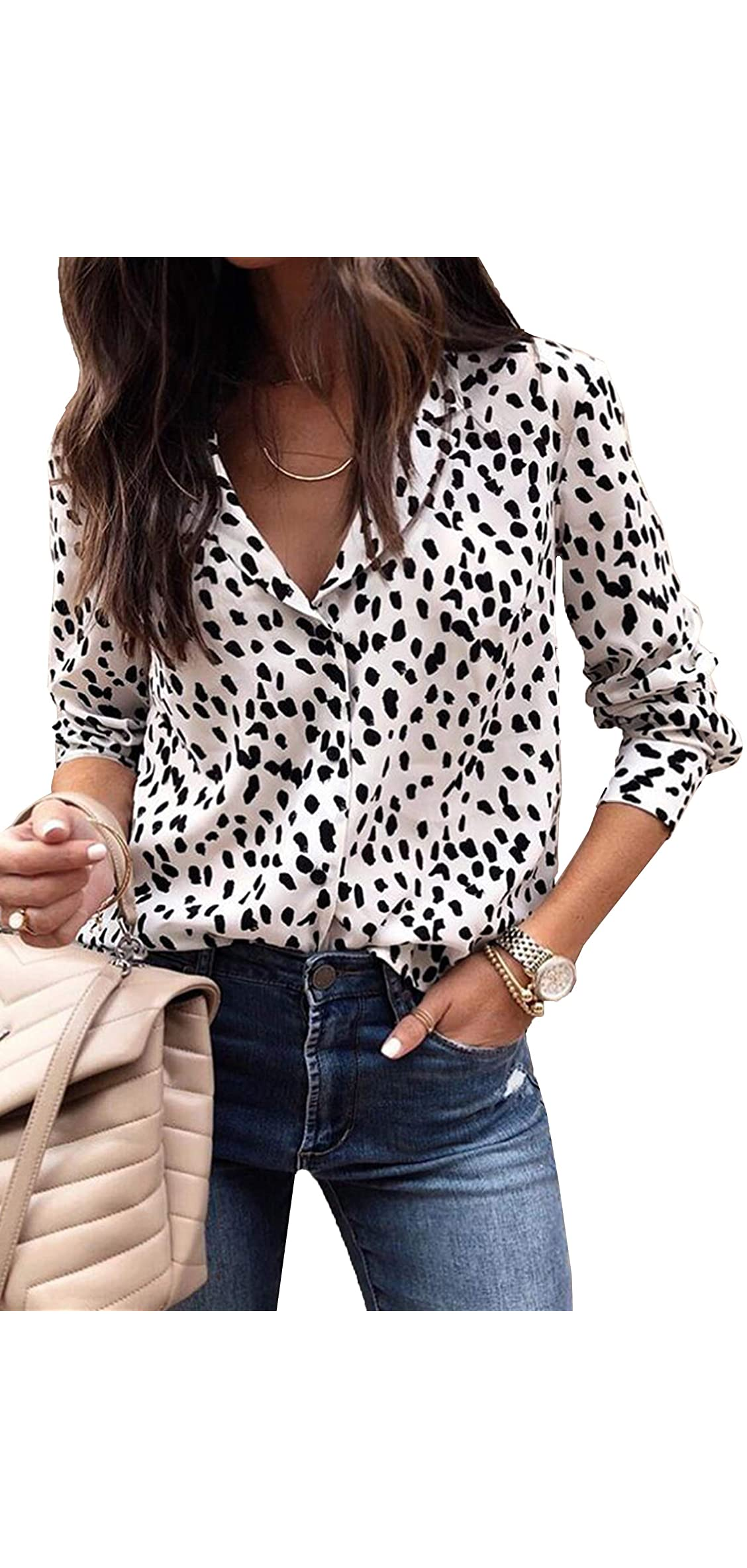 Womens V Neck Leopard Casual Print Tunic Long Sleeve