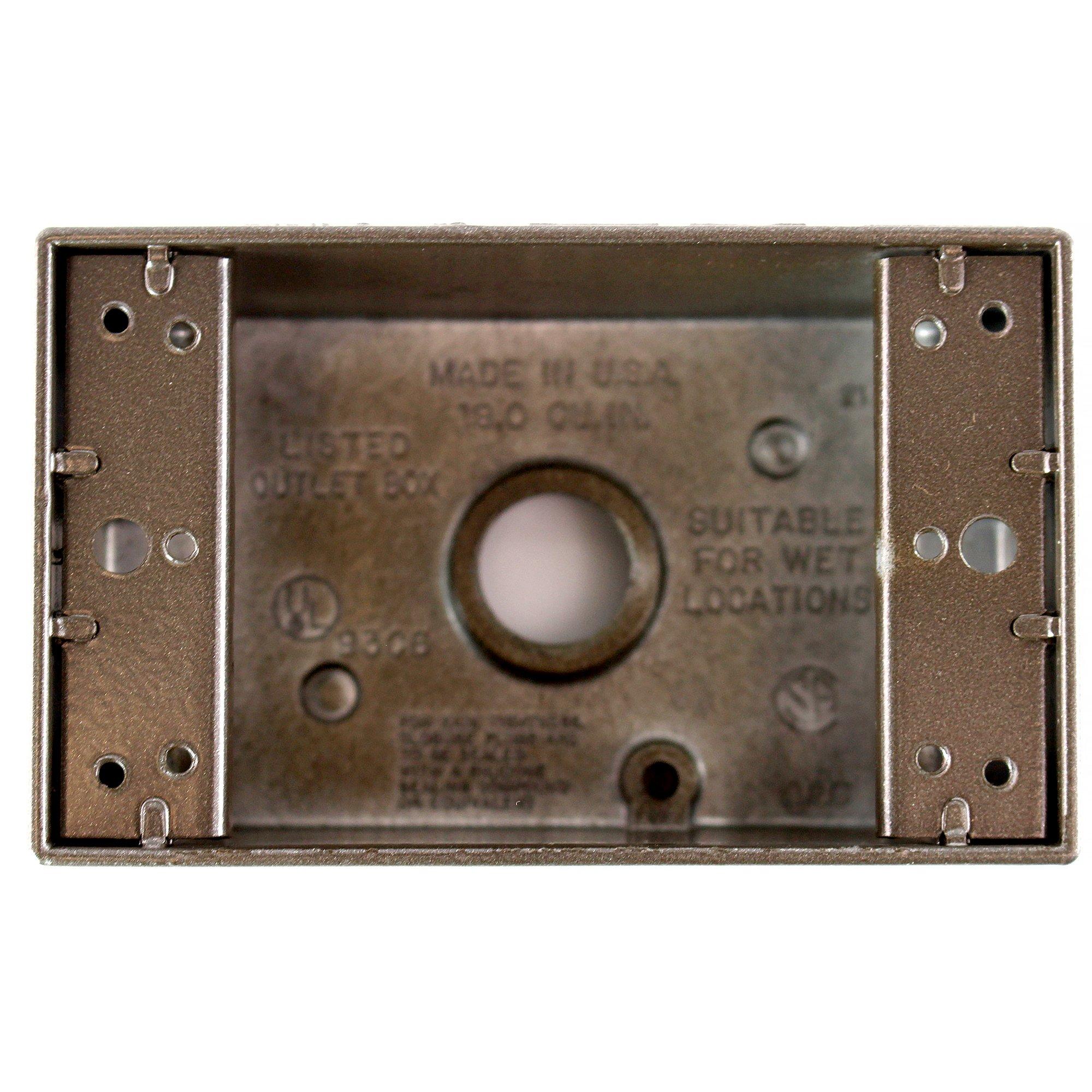 Pass & Seymour WPB25-BR Weatherproof Electrical Box, (6) 1/2'' Holes, Bronze