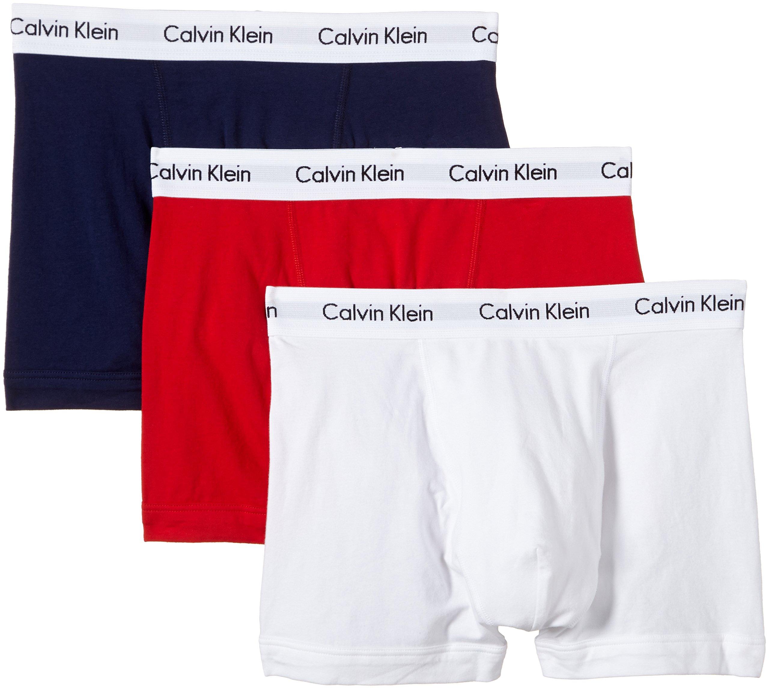 Calvin Klein Cotton Stretch Multi Pack Trunks - White/Red/Blue