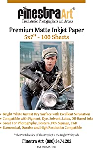 "5"" X 7"" Premium Arctic Matte Inkjet Photo Paper - 100 Sheets"