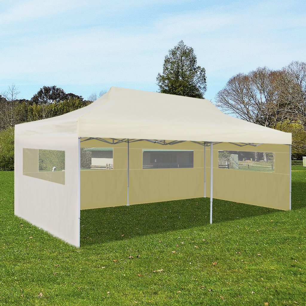 SKB Family Cream Foldable Pop-up Party Tent 10' x 20' Outdoor Waterproof Shelter by SKB family