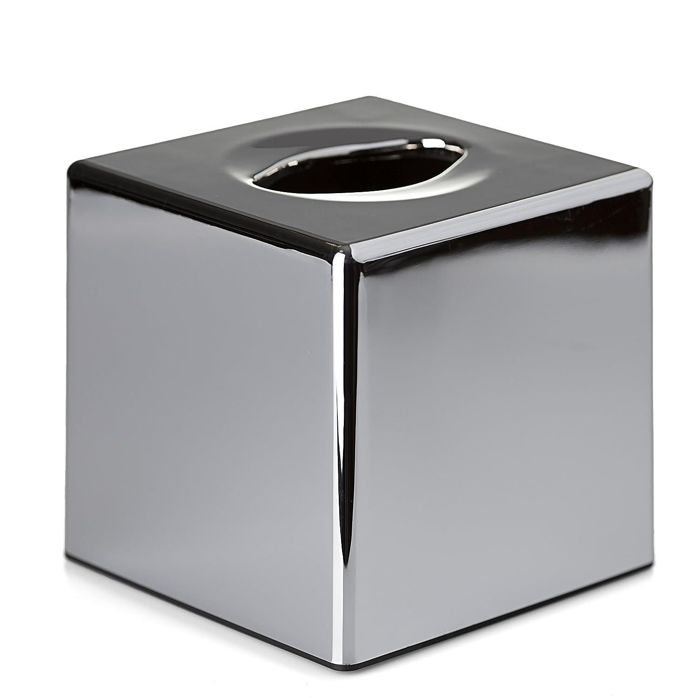 Caja dispensadora de pa/ñuelos acabado cromado Oblong//Rectangle dise/ño rectangular o cuadrado