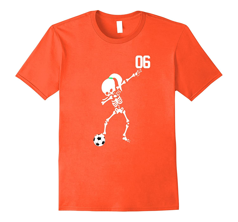 #06 Skeleton Girls Soccer Ball Dabbing Halloween Shirt Dab-FL