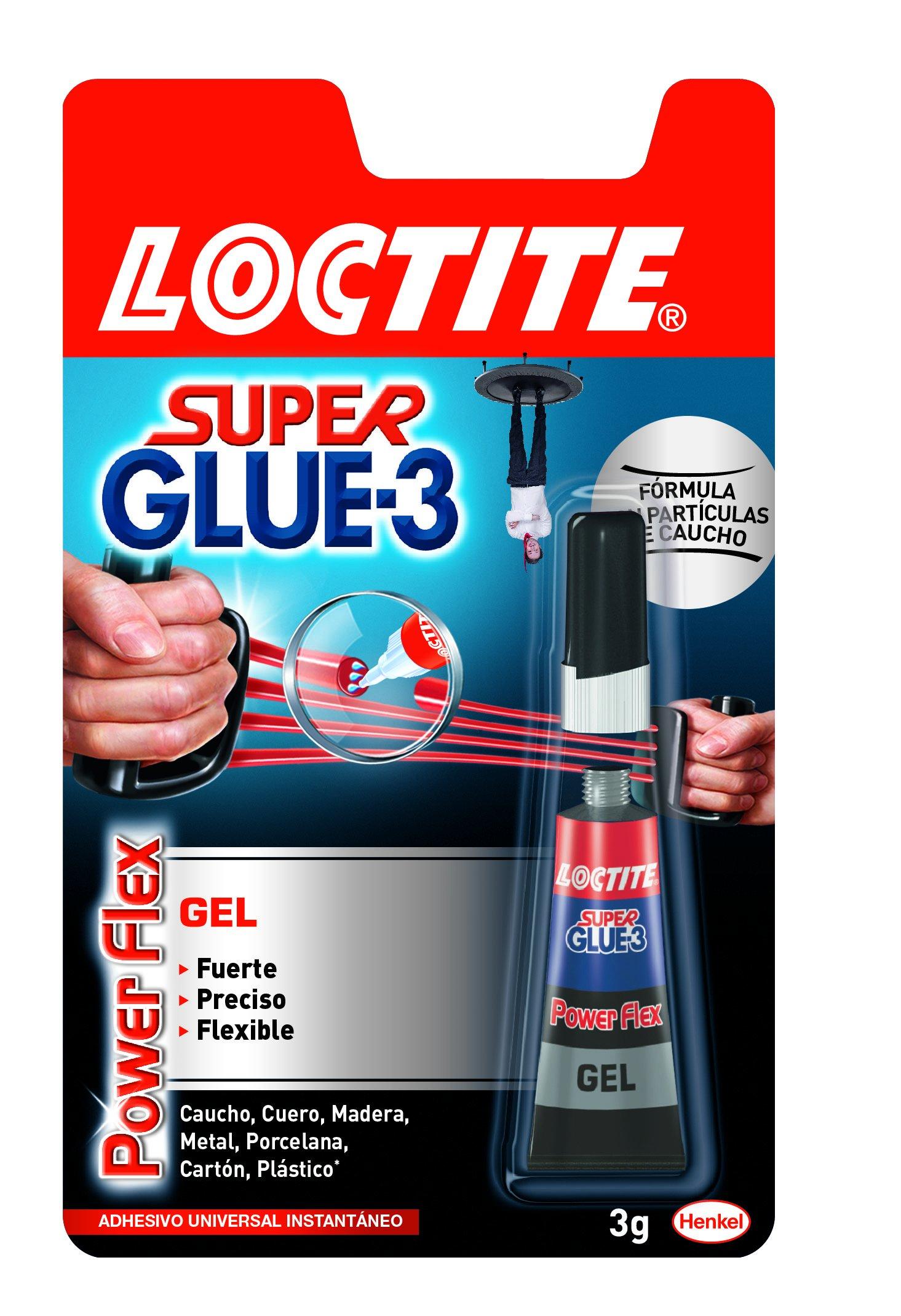 Loctite Super Glue-3 Power Flex, gel adhesivo flexible y resistente, pegamento instantáneo