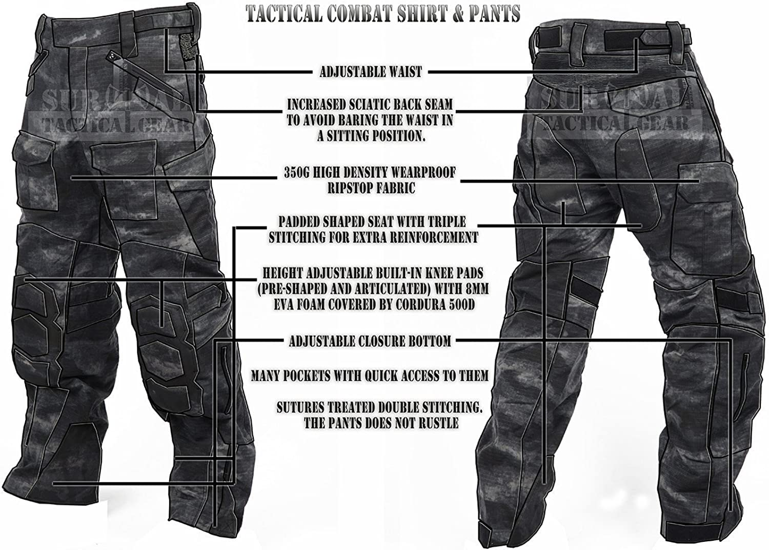 ZAPT Tactical Ripstop Combat Pants with Knee Protector Airsoft Paintball Military Camo Uniform Army Camouflage Trousers