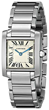 30e6cb0d985 Image Unavailable. Image not available for. Color  Cartier Women s W51008Q3 Tank  Francaise Stainless Steel Bracelet Watch