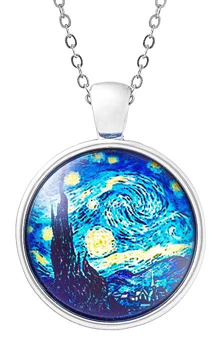 Klimisy - Noche Estrellada por Vincent Van Gogh - Collar Colgante con Impresionante Imagen Artística -
