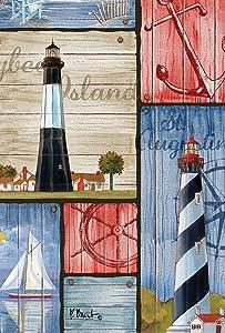 Toland Home Garden Boater's Collage 12.5 x 18 Inch Decorative Lighthouse Anchor Ocean Sailing Garden Flag