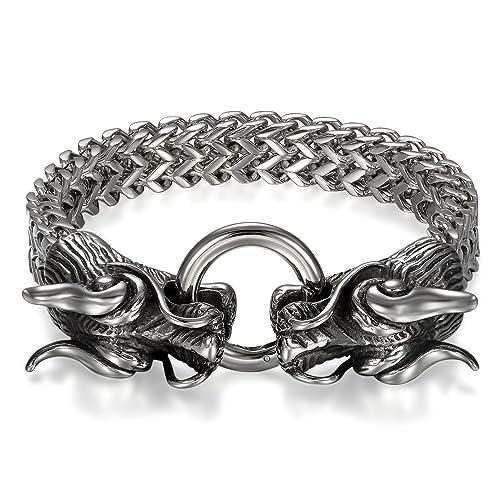 d78f98791ceaaf JewelryWe gioielli bracciale da uomo, acciaio inossidabile, gotico con  drago Biker catena a maglia piatta bracciale, colore nero argento:  Amazon.it: ...