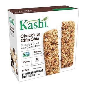 Kashi Crunchy Chocolate Chip Chia Granola Bars - Vegan   5 Pouches, 2 Bars Per Pouch