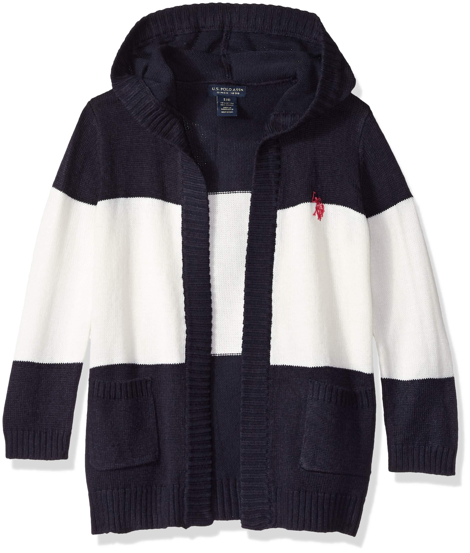 U.S. Polo Assn. Girls' Big Cardigan, Five Gauge Sweater Knit Classic Navy, 7/8