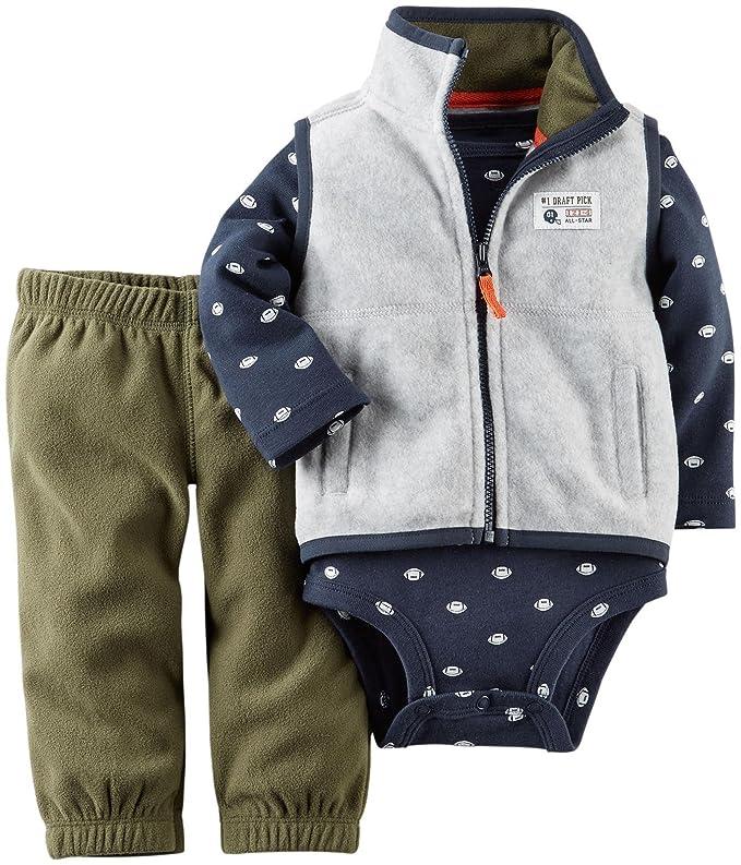 e52d46ec9 Amazon.com  Carter s Baby Boys  3 Piece Fleece Vest Set (Baby)  Clothing