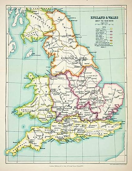 1923 Lithograph England Wales Map Anglia Lincoln Sussex Dorset Devon