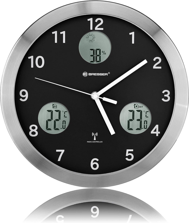 Bresser Wanduhr 30cm MyTime IO horloge murale noire, 30x4x30 cm