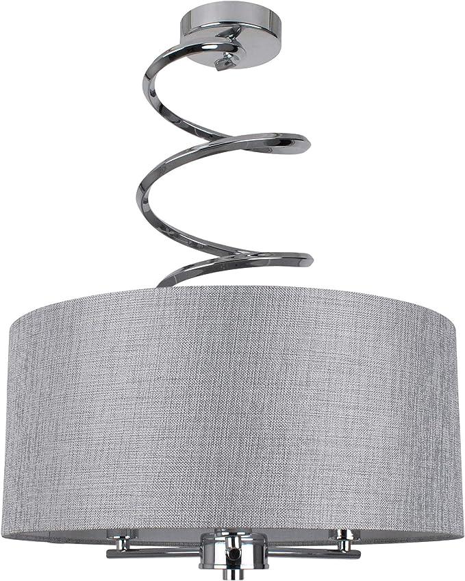 PAGAZZI Pagazzi Kasi Semi Flush Ceiling Light 40cm Wide Polished Chrome, Grey Shade XXX6419: Amazon.co.uk: Lighting