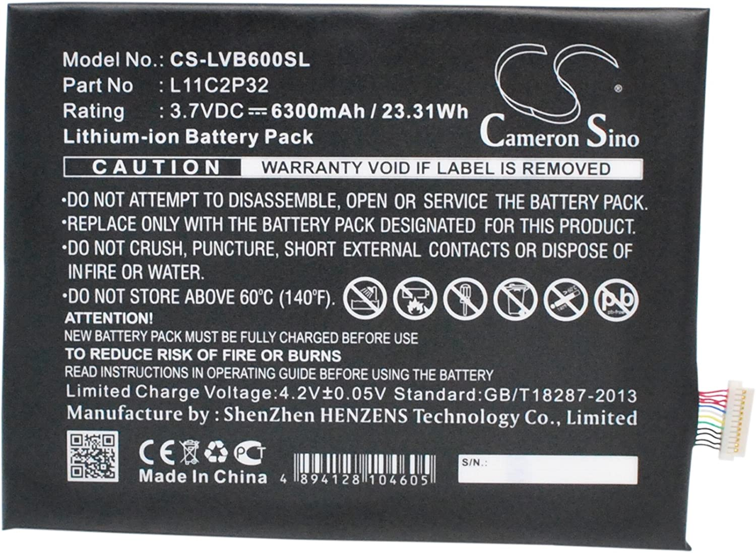 6300mAh Replacement for Lenovo IdeaTab S600H Battery, P/N L11C2P32